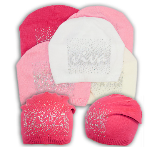 Вязаная шапка для девочки со стразами, V110