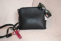 Женская чёрная сумочка с длинным ремешком через плече