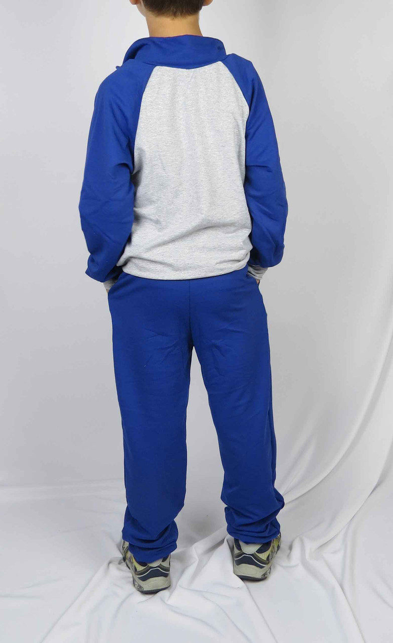 Костюм спортивный размеры 128 см - 146 см код 3-5 цвет серый с голубым, фото 3