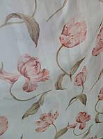 """Тюль """"Букет цветов 3327-03"""" розовая"""