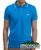 Голубая мужская футболка POLO Fred Perry поло есть опт, фото 1