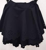 Школьная юбка синего цвета с перфорированой вышивкой  № 0150