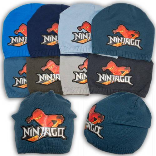 """Вязаная шапка для мальчика с вышивкой """"NinjaGo Кай"""", V122"""