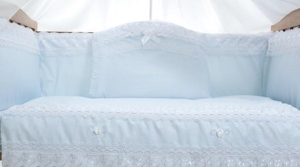 Детский постельный комплект «Ажурный» (Голубой, 6 элементов), EkoBaby