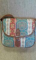 Молодежный клатч синий с орнаментом из плотной ткани(Турция)