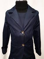 Стильный школьный пиджак на пуговицах синего цвета 4