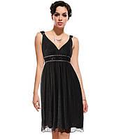 Черное шифоновое платье, украшено мелкими розочками . S  M
