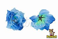 Цветы Розы Голубые из ткани 12 см 1 шт