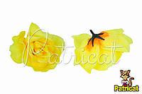 Цветы Розы Желтые из ткани 12 см 1 шт