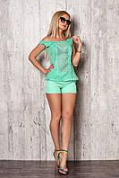 Женский летний костюм - майка с сеткой и короткие шорты 42-48 размера