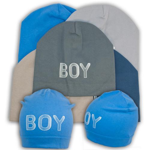 """Трикотажная шапка для мальчика с принтом """"Boy"""""""