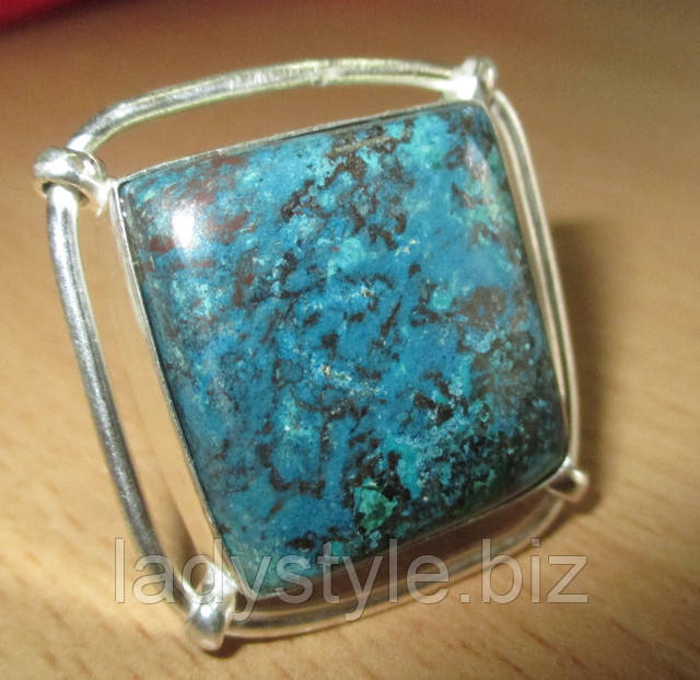 купить украшения с натуральной хризоколлой перстень с азуромалахитом кольцо серьги