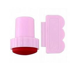 Штампик маленький и скребок Розовый