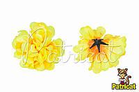 Цветы Хризантемы Желтые из ткани 12 см 1 шт