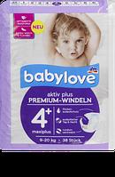 Babylove Windeln Premium aktiv plus Größe 4+, maxiplus 9-20kg - Подгузники размер 4+, 9-20 кг, 38 шт.