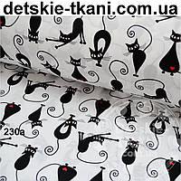 """Ткань """"Коты с сердечком"""" на белом фоне (№230а)"""