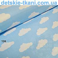 Ткань с белыми облаками на голубом фоне (№135).