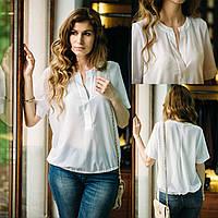 Белая женская блуза из креп - шифона. Необычный дизайн! Разм. XS , S , M , L ,XL , XXL .Davanti.