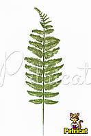 Лист Папоротника с глиттером (блестками) Зеленый 1 шт