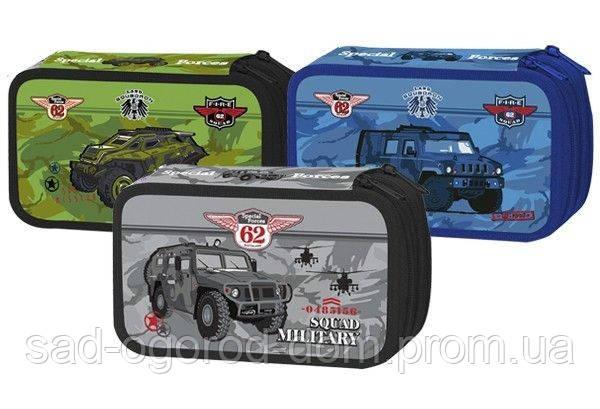 Пенал школьный Willy 3 отделения,  Военные машины