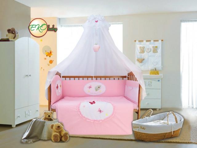Детский постельный комплект «Волшебное яблочко» (Розовый, 7 элементов), EkoBaby