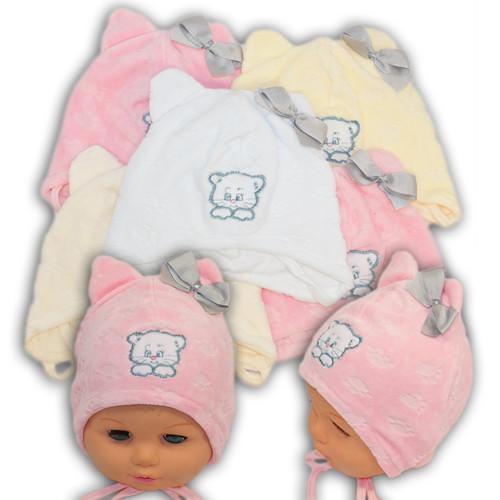 """Велюровая шапочка на завязках для девочки с вышивкой """"Кошечка"""""""