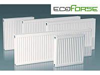 Стальной радиатор отопления тип 22, 500 на 400 EcoForse, боковое подключение