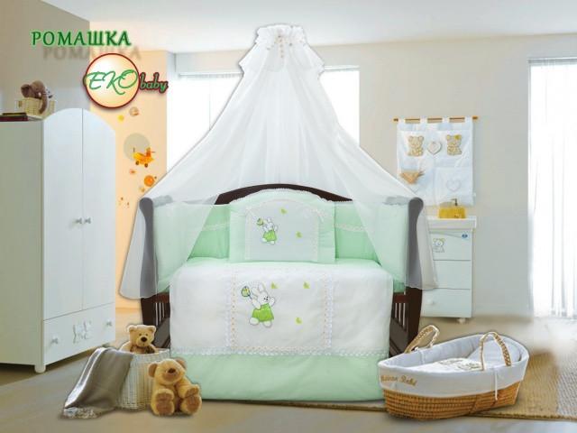 Детский постельный комплект «Ромашка» (Салатовый, 7 элементов), EkoBaby