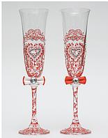 Свадебные  бокалы Ажур, красные