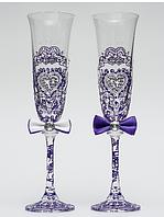 Свадебные  бокалы Ажур, синий