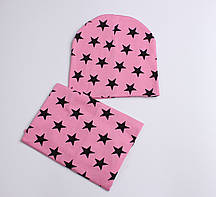 Набір комплект шапка і шарф снуд в зірки