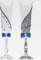 Свадебные  бокалы Ажур синие