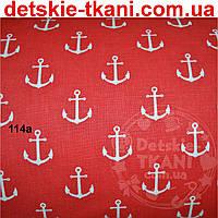 Бязь с якорями на красном фоне (№114а).