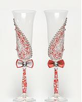 Свадебные  бокалы Асиметрия, красные