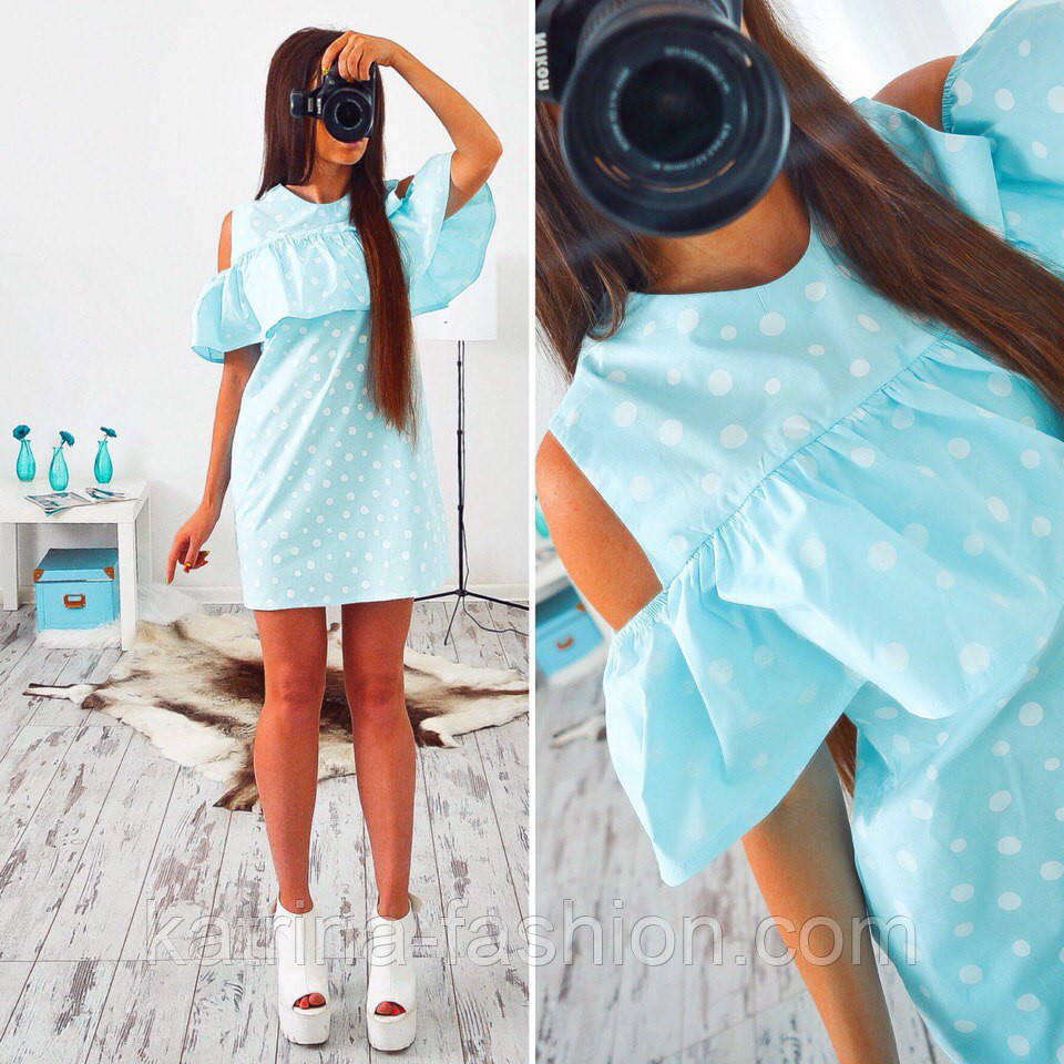 Женское стильное платье с воланом и вырезом на плечах (2 цвета) - KATRINA  FASHION 043ce6ba5cb