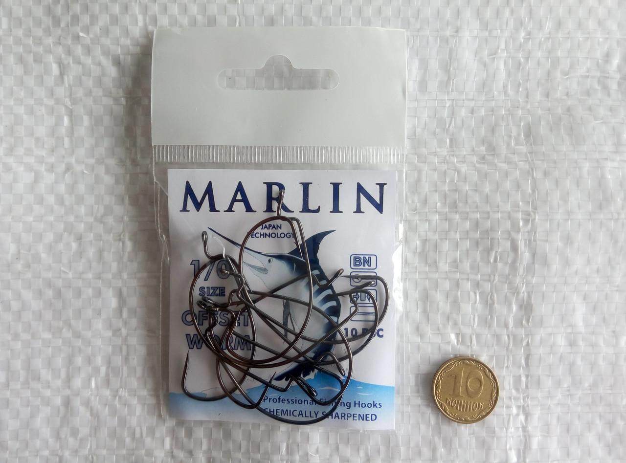 Крючки Marlin Offset WORM №1/0