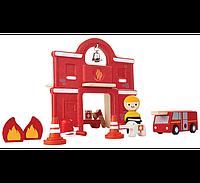 Деревянный игровой набор Plan Тoys Пожарная часть (6619)