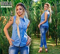 Рубашка джинсовая без рукавов ат2217 (ГЛ)