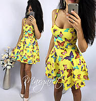 Женское летнее платье с юбкой-солнце я без рукава с принтом, фото 1