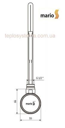 ТЭН для полотенцесушителей Mario MEG 300 Вт  (с регулятором t), фото 2