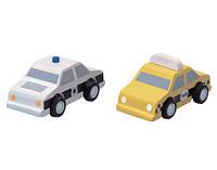 """Деревянная игрушка """"Машинки такси и полиция, PlanToys"""