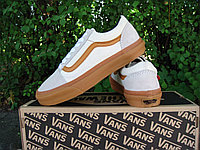 "Кеды унисекс Vans Old Skool White ""Белые с коричневым"" р. 4.5-11 (36-46), фото 1"