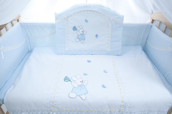 Детский постельный комплект «Ромашка» (Голубой, 6 элементов), EkoBaby