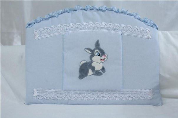 Детский постельный комплект «Зайка/Кролик» (Голубой, 7 элементов), EkoBaby