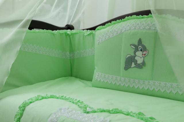 Детский постельный комплект «Зайка/Кролик» (Салатовый, 6 элементов), EkoBaby