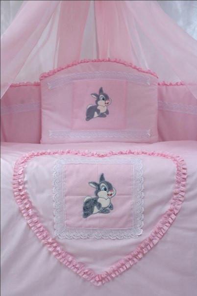Детский постельный комплект «Зайка/Кролик» (Розовый, 6 элементов), EkoBaby