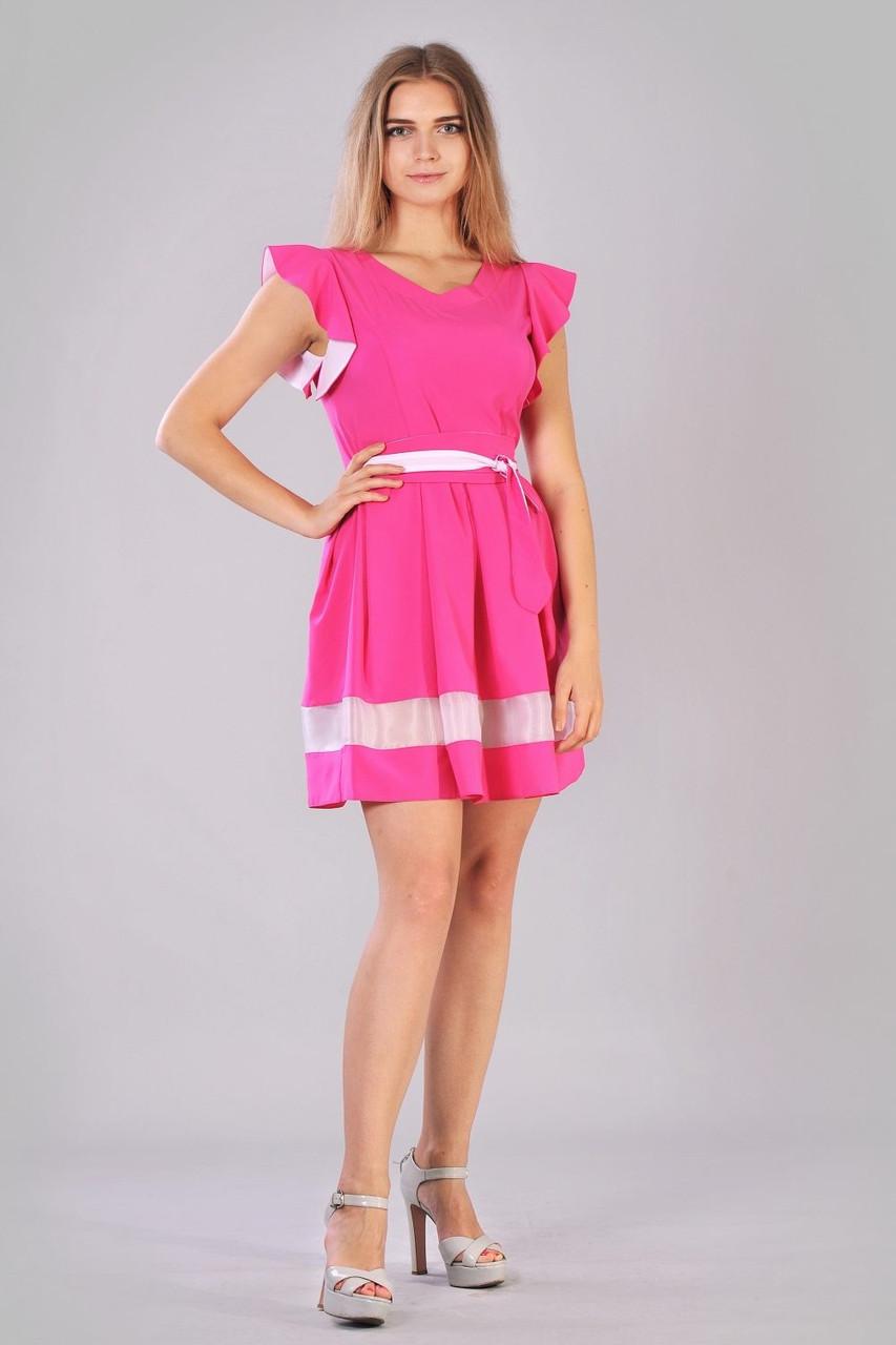 Розовое платье рукава воланы