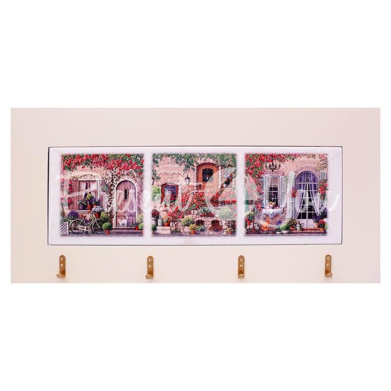Панно настенное горизонтальное с крючками «Прованс», 10х30, 18х38 см.