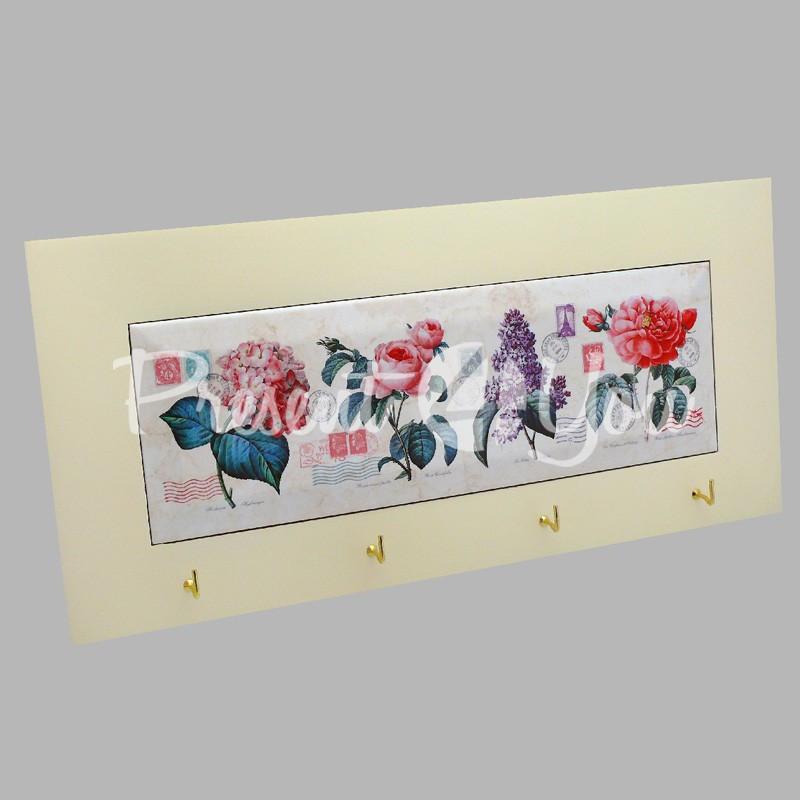 Панно настенное горизонтальное с крючками «Прованс. Цветы», 10х30, 18х38 см.