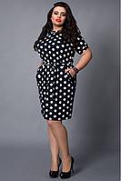 Батальное платье в крупный горошек